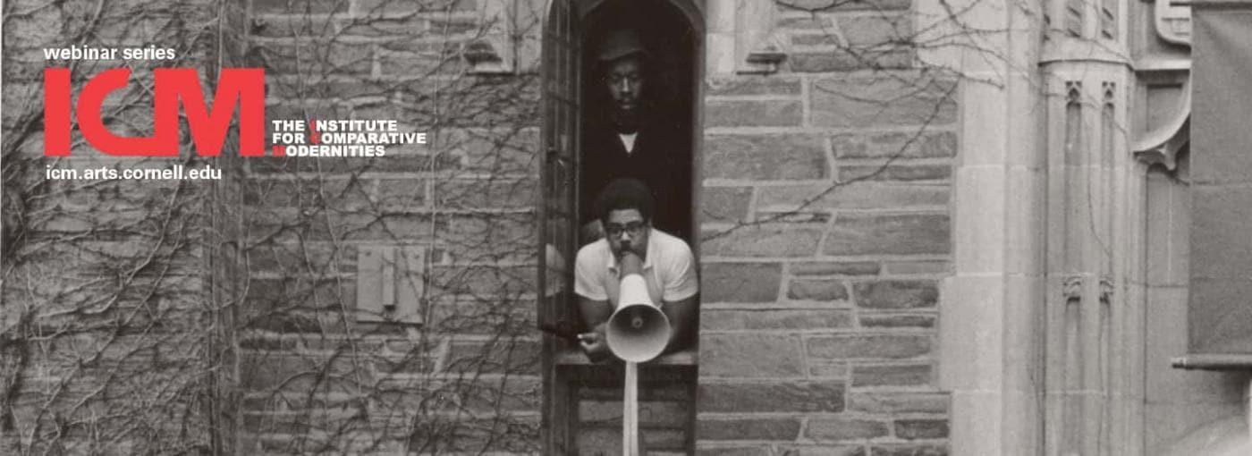 Student holding megaphone at Willard Straight Hall Takeover 1969