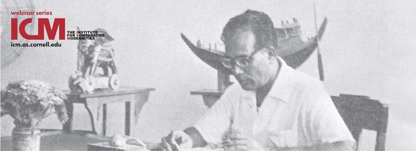 Zainul Abedin working at desk, Dhaka Art Institute 1950