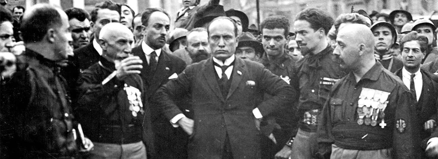 Benito Mussolini at a fascist rally in Italy