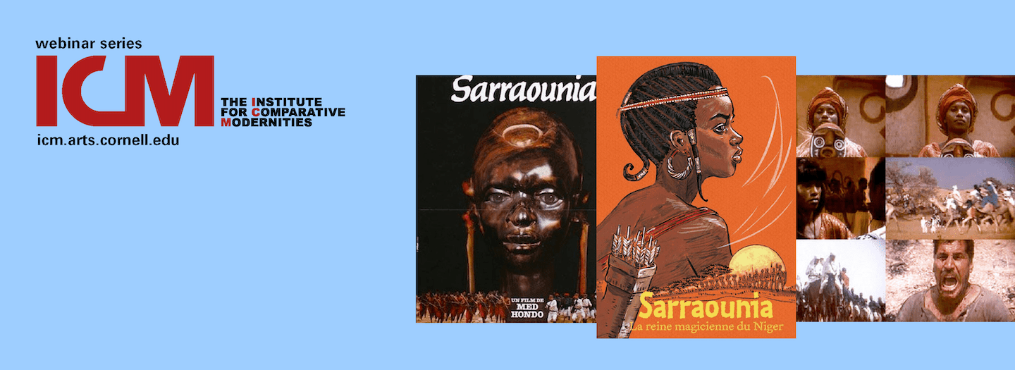 """Naminata Diabate, """"Diya, Plaisir, Pleasure, and the Making of Sarranouia, the Warrior Queen"""" poster with images from film and literary representations"""